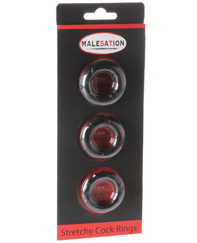 Malesation Stretchy Cock Rings - Pack of 3