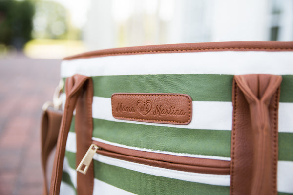 Alex Diaper Bag by Mama Martina - Olive Green Stripes