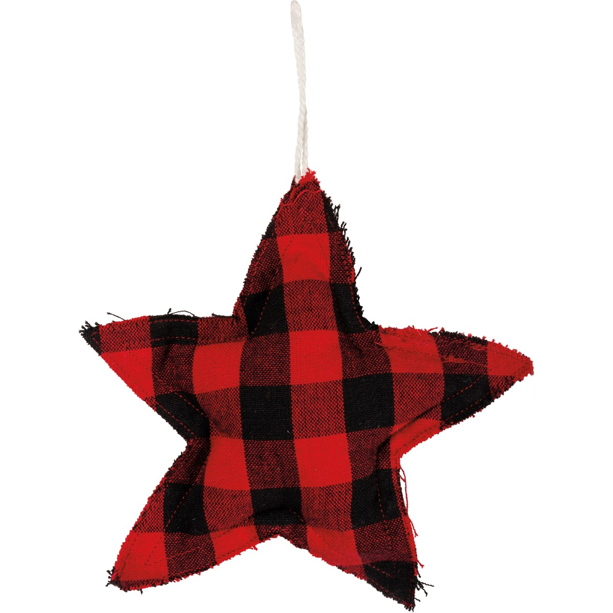 Ornament - Red And Black Buffalo Check - Star