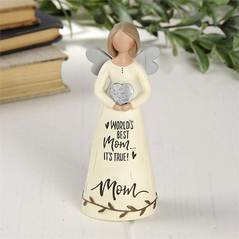 """WORLD'S BEST MOM"" ANGEL HOLDING HEART"