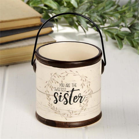 """SWEETEST SISTER"" CERAMIC CROCK CANDLE"