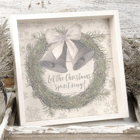 """LET THE CHRISTMAS SPIRIT RING"" HANGING SIGN WITH BELLS"
