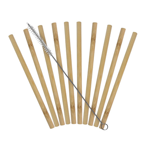 Reusable Bamboo Drinking Straws (10-Pack with Cleaning Brush)