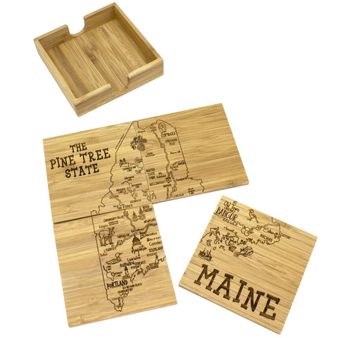 Maine State Puzzle 4-Pc. Coaster Set with Case