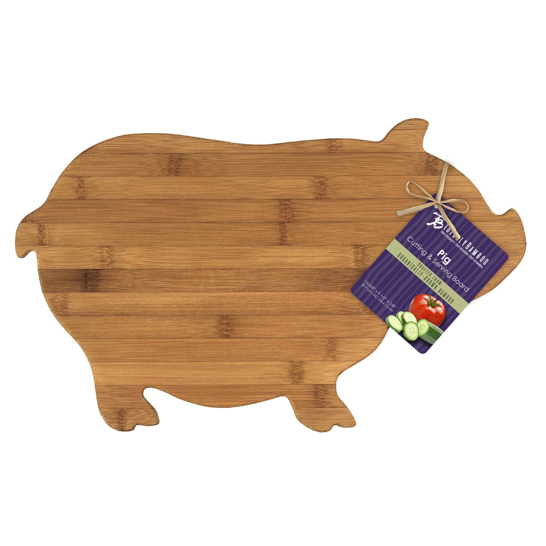 Pig Shaped Bamboo Serving and Cutting Board