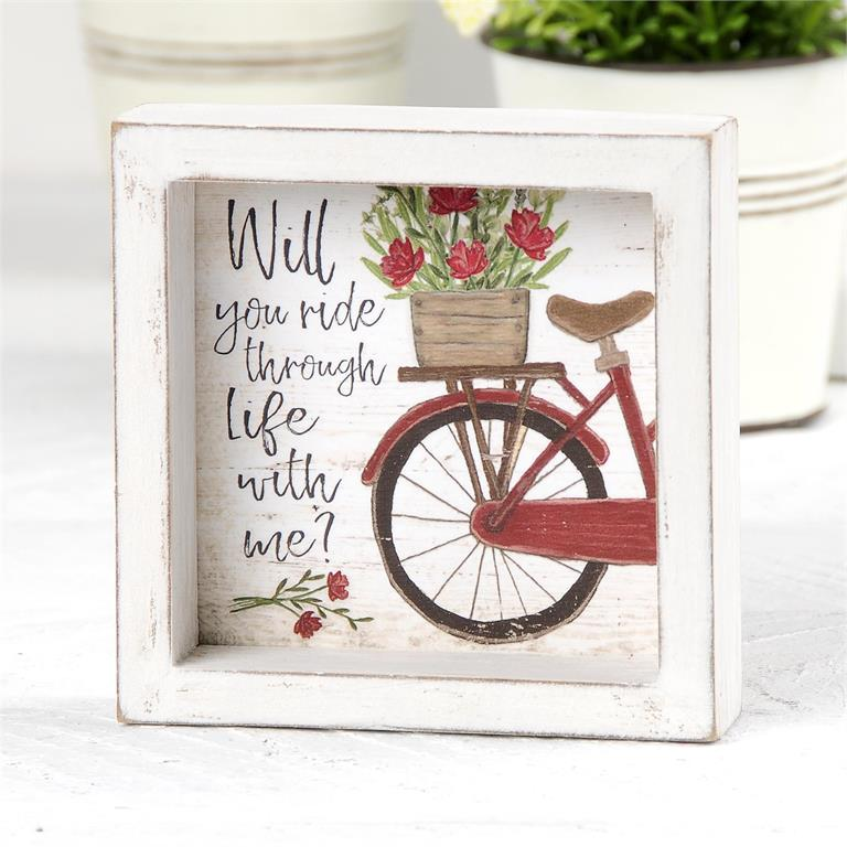 """RIDE THROUGH LIFE WITH ME"" BICYCLE SHADOW BOX"