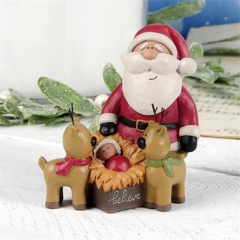SANTA WITH BABY JESUS AND REINDEER