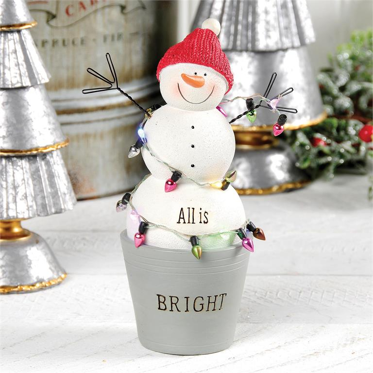 ALL IS BRIGHT SNOWMAN IN BUCKET WITH LIGHTS