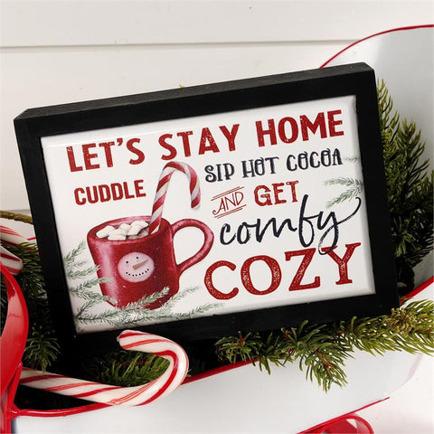 LET'S STAY HOME AND GET COMFY COZY CERAMIC TILE SIGN