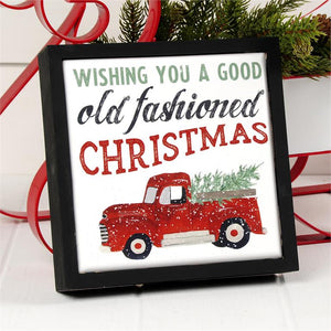 OLD FASHIONED CHRISTMAS CERAMIC TILE SIGN