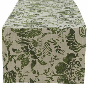 "CAPRICE TABLE RUNNER - OLIVE - 72""L"