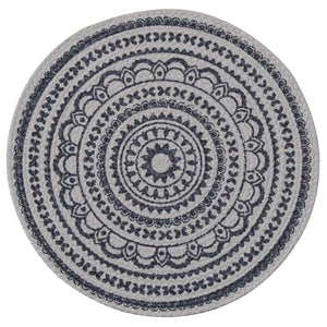 ZURI MEDALLION PRINTED ROUND PLACEMAT - NAVY