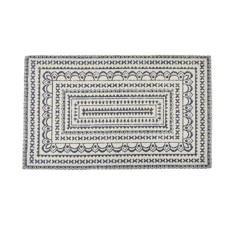 ZURI MEDALLION PRINTED RUG - NAVY