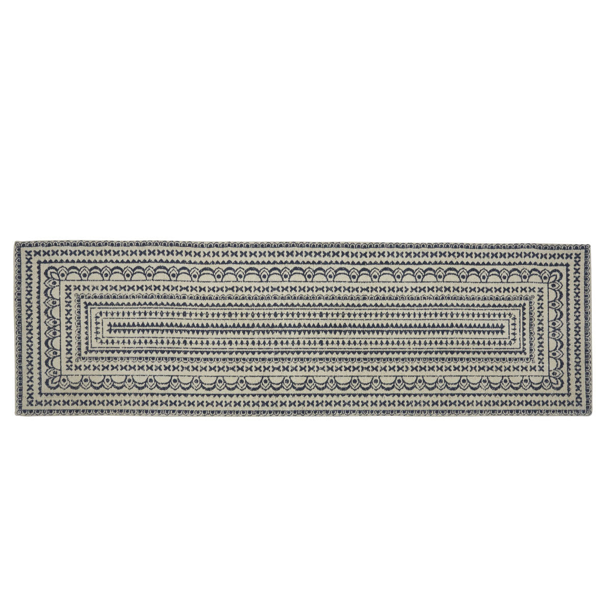 ZURI MEDALLION PRINTED RUG 2'X6' - NAVY