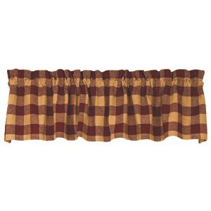 Barn Red Check Cotton Burlap Valance