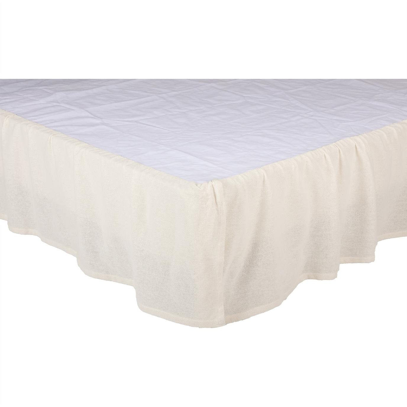 Burlap Antique White Ruffled Twin Bed Skirt