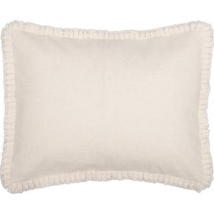 Burlap Antique White Standard Sham w/ Fringed Ruffle