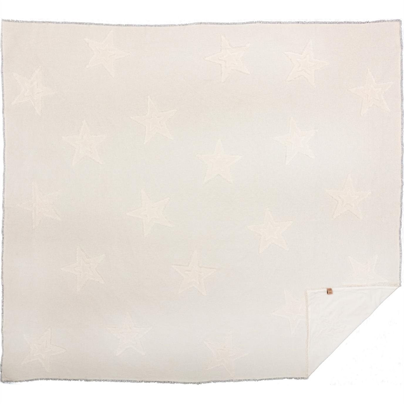 Burlap Antique White Star King Coverlet