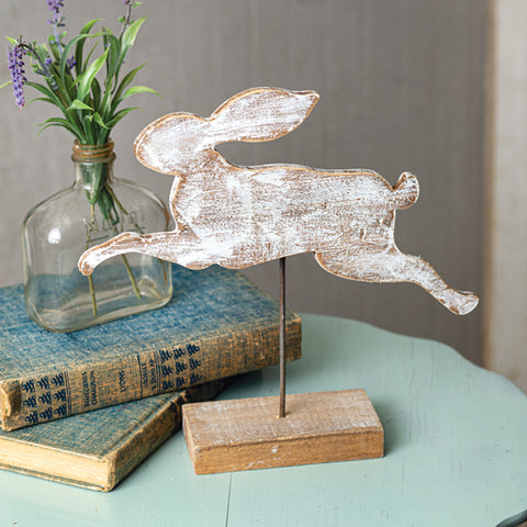 Wooden Rabbit Cut Out with Base
