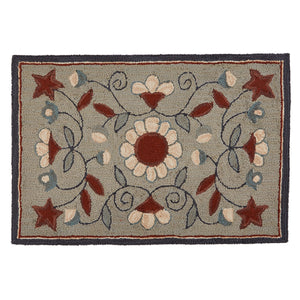 GRAY FLORAL HOOKED RUG