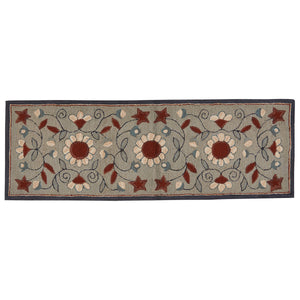 GRAY FLORAL HOOKED RUG RUNNER