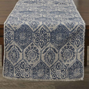 "MOSAIC TILE PRINTED TABLE RUNNER - 72""L - BLUE"