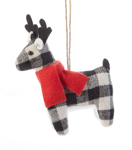 Black/White Reindeer Ornament