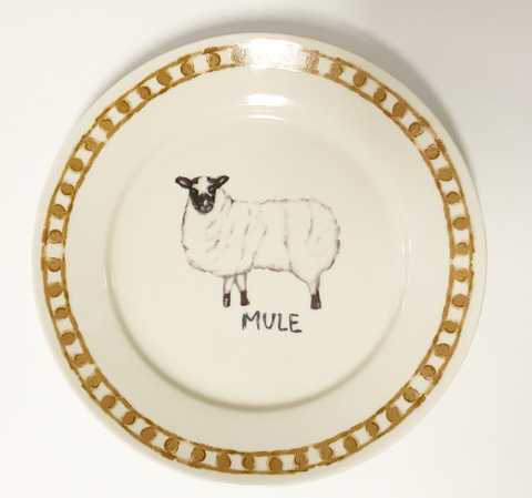 Stoneware Sheep Plate