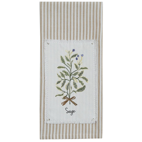 SAGE EMBROIDEERD PATCH DISHTOWEL