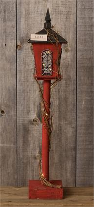 Standing Post - Lantern, Wrap Around Twig Led Lights