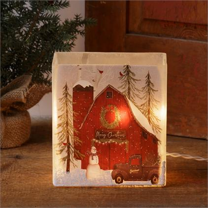 Frosted Glass Luminary - Merry Christmas Barn
