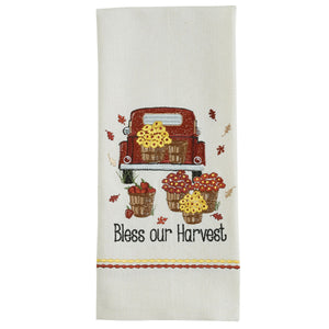 BLESS OUR HARVEST EMBROIDERED DISHTOWEL