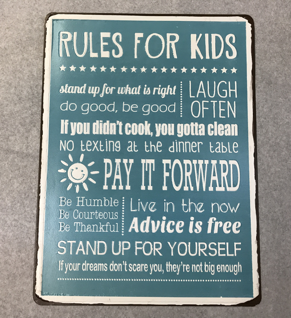 Rules For Kids Sign