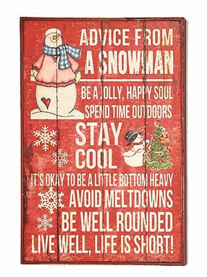 Snowman Advice Sign