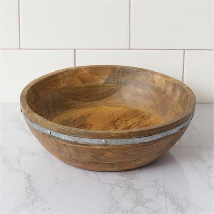 Bowl - Wood With Metal Embellishment