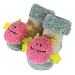 Rattle Socks - Pink Monster