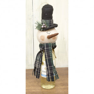 Green Plaid Snowman Wine Topper