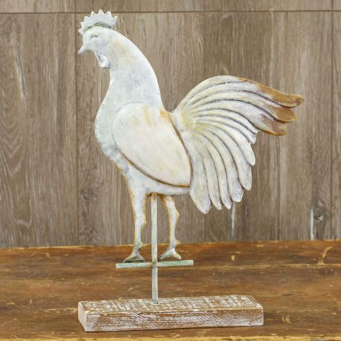 ROOSTER WEATHERVANE ON WOOD BASE