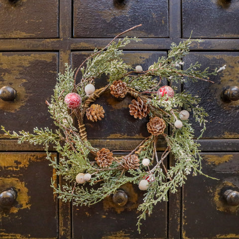 "12"" PINE WITH RED & WHITE BERRIES MINI WREATH"