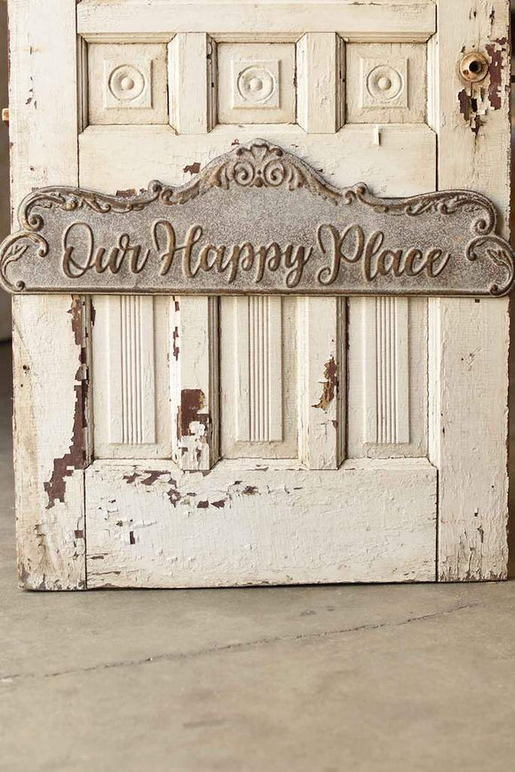 Our Happy Place Scalloped Sign