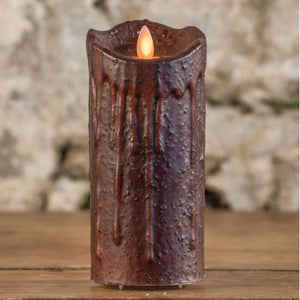 "5"" TOBACCO MOVING FLAME PILLAR CANDLE"