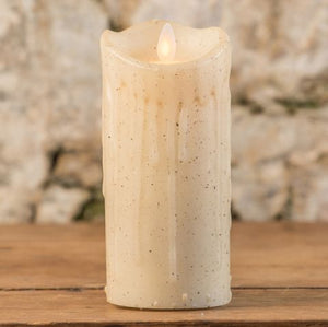 "5"" LINEN MOVING FLAME PILLAR CANDLE"