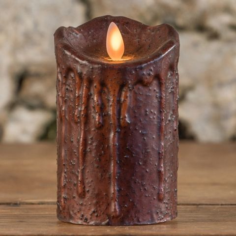 "4.75"" TOBACCO MOVING FLAME PILLAR CANDLE"