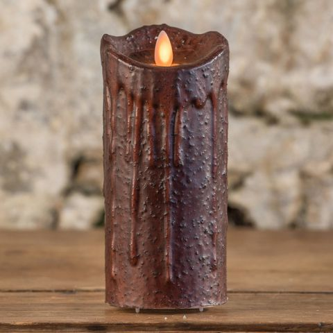 "7"" TOBACCO MOVING FLAME PILLAR CANDLE"
