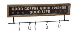 Good Coffee Good Friends Hook Board