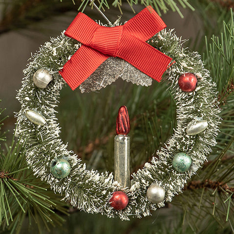 "4"" BOTTLEBRUSH WREATH WITH CANDLE ORNAMENT"