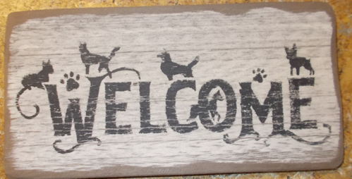 Welcome With Dogs Sign