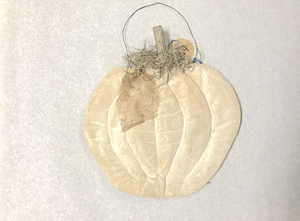 Hanging Fabric Pumpkin (Vintage White)