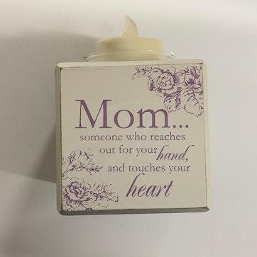 Mom Touches Your Heart Candle Block