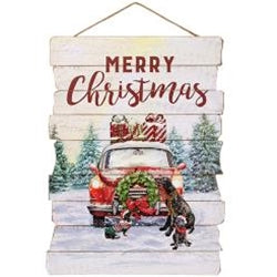 Old Fashioned Car Christmas Scene Wall Hanging